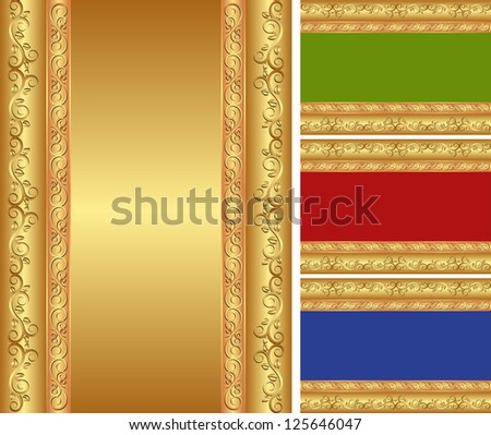 golden background with ornaments - stock vector