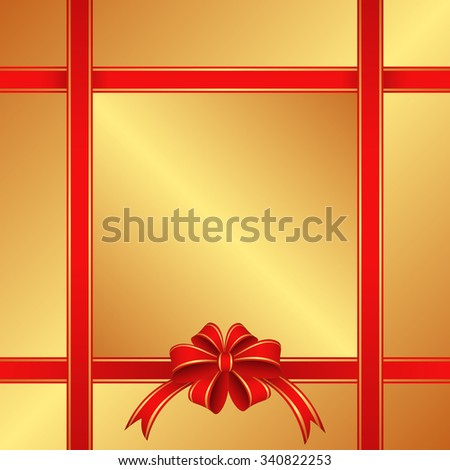 golden background with red ribbons - stock vector