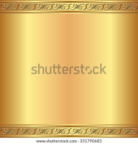 golden background with vintage ornament - stock vector