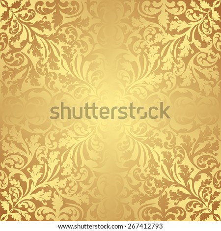 golden background with vintage pattern - stock vector