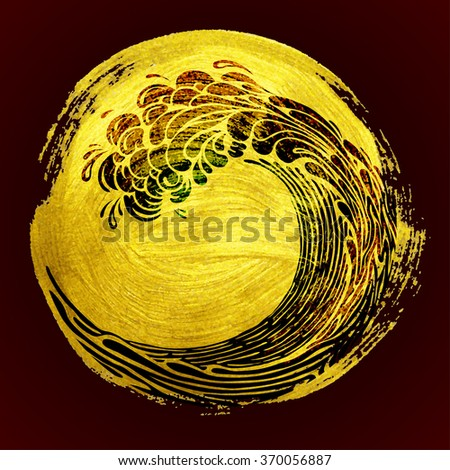 golden  background with wave - stock vector