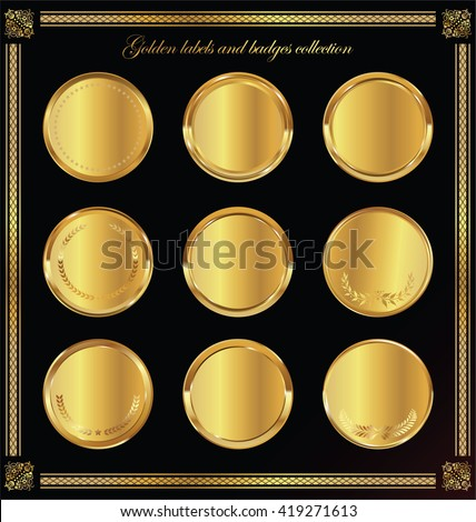 Golden badges and labels collection - stock vector