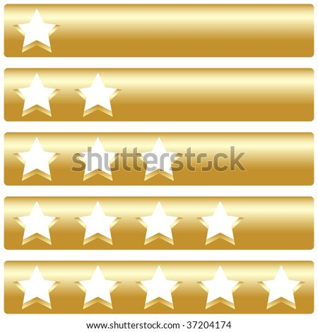 Golden bar with five rating stars, vector illustration - stock vector