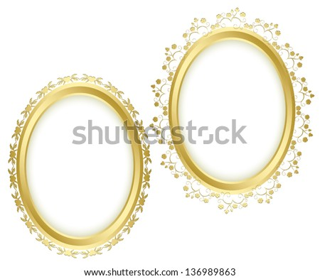 golden beautiful decorative frames - vector set. Eps 10. Oval shadow is transparent. - stock vector
