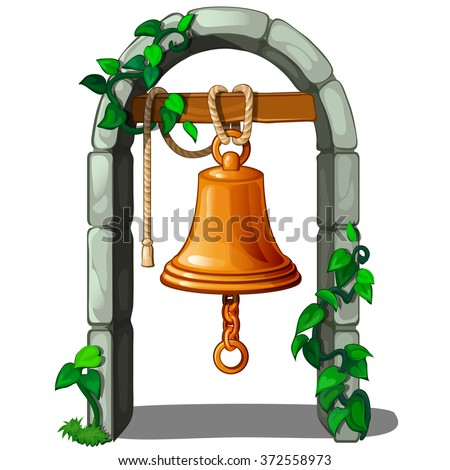 Golden bell hanging in the archway. Vector. - stock vector