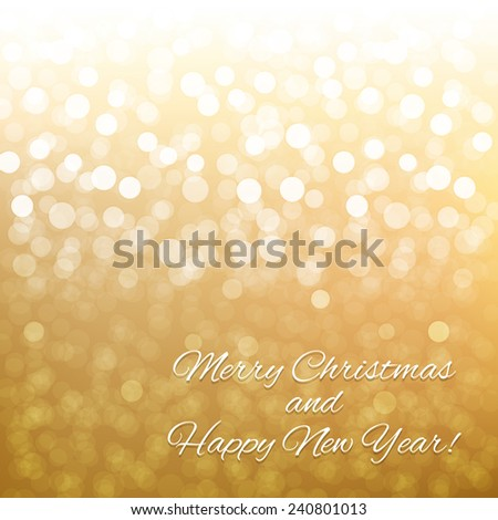 Golden Bokeh With Gradient Mesh, Vector Illustration - stock vector