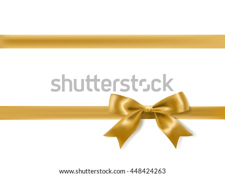 golden bow decoration on white. vector - stock vector