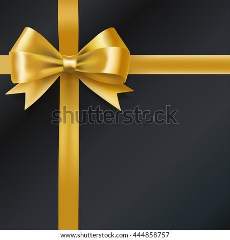 golden bow ribbon on black. decorative design element. vector - stock vector