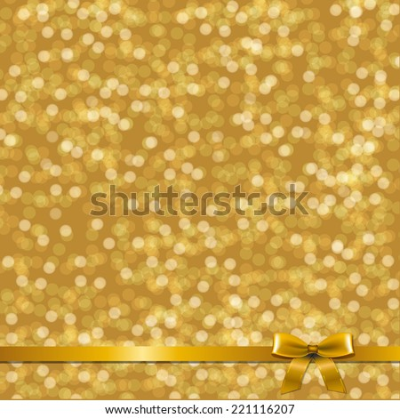 Golden Card With Ribbon With Gradient Mesh, Vector Illustration - stock vector