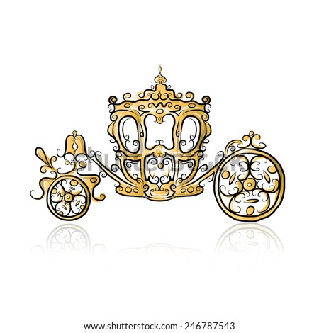 Golden carriage, sketch for your design. Vector illustration - stock vector
