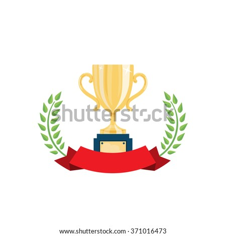 Golden champion cup with red curled ribbon and green laurel wreath. Success, competition, winner concept. Isolated on white. Vector illustration. - stock vector