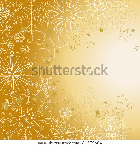 Golden christmas background - stock vector