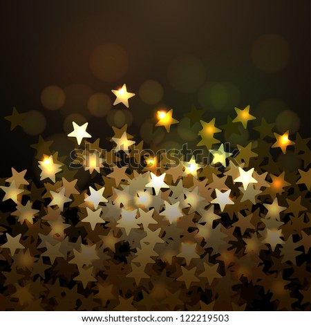 Golden Christmas background with stars - stock vector