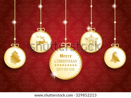 Golden christmas baubles with symbols on red background. Eps 10 vector file. - stock vector