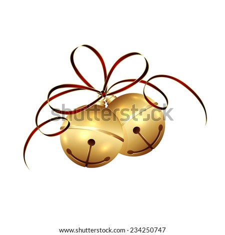 Golden Christmas bells with tinsel and bow isolated on white background, illustration. - stock vector