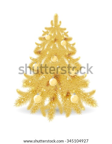 Golden Christmas tree isolated on white background. Perfect for greeting cards, holiday design. Golden Christmas tree with glossy balls and garland. - stock vector