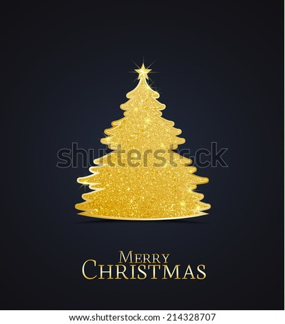 Golden Christmas tree on a dark background - stock vector