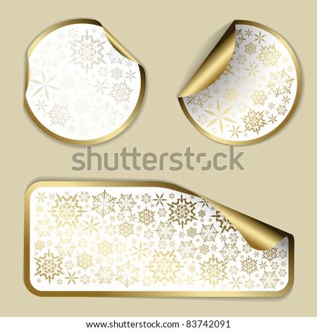 Golden Christmas vector labels and stickers with white border and snowflakes pattern - stock vector