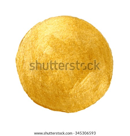 Golden circle stain background. Abstract hand painted golden background. Isolated on white. Template for your design - stock vector