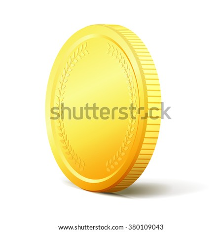 Golden coin with realistic shadow isolated on white background. Vector illustration - stock vector