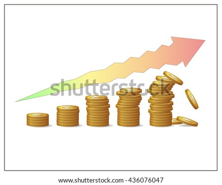 Golden coins increasing pillars and an arrow showing financial growth's risks and instability. Fund, profit, money or capital raising crush. Financial risks and crisis. Vector isolated illustration.  - stock vector