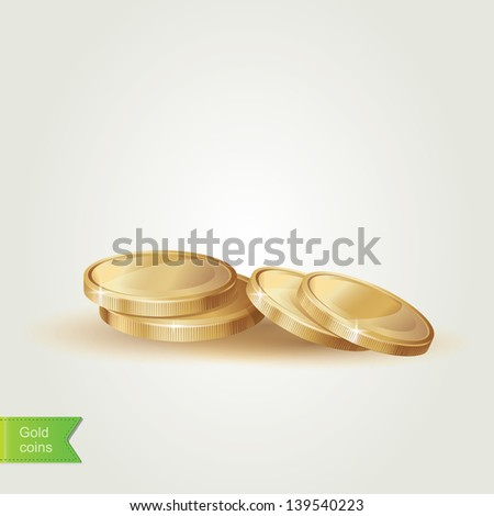 Golden coins isolated.Vector illustration. - stock vector