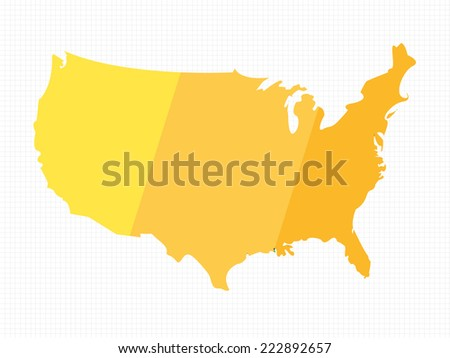 Golden Colored USA Map on Grid - stock vector