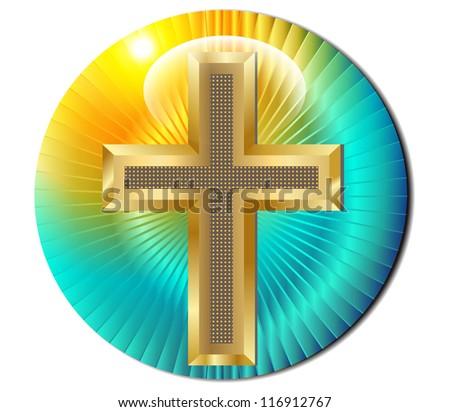 Golden cross  background of the sun.Vector - stock vector