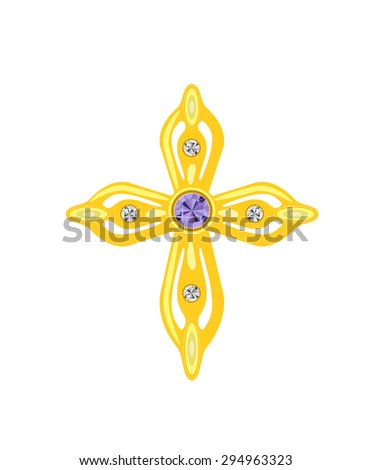 Golden Cross with Diamonds. Vector Illustration. EPS10 - stock vector