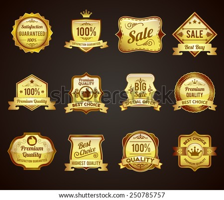 Golden crown highest quality labels collection icons satisfaction guaranteed for vip customers abstract graphic vector isolated illustration - stock vector
