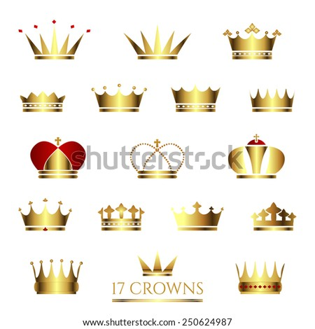 Golden Crown icon set. Crown vector illustrations. Business sign or product labeling element templates, part of corporate identity. Simple & detailed Crown icons. Vector design is layered & editable. - stock vector