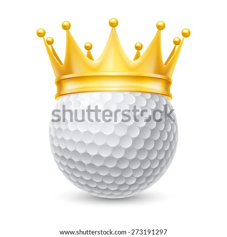 Golden crown on the golf ball isolated on white - stock vector