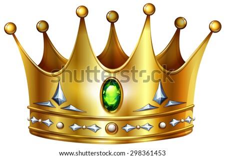 Golden crown with green gemstones and diamonds - stock vector