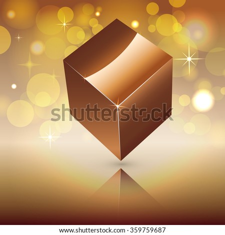 golden cube on shiny background - stock vector