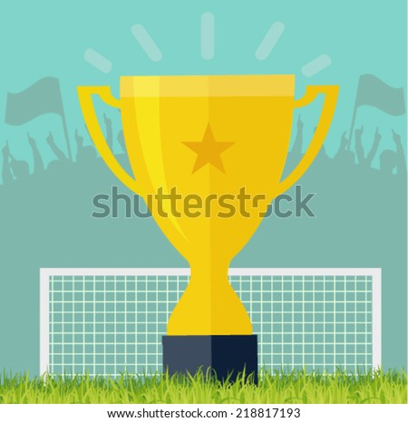 golden cup on the stadium - victory concept  - stock vector