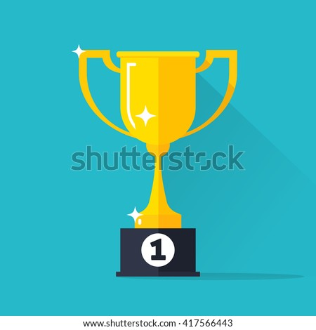 Golden cup vector illustration isolated on blue background, gold cup icon with winner 1st place pedestal, shiny yellow cup golden flat cartoon design - stock vector