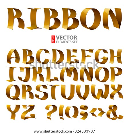 Golden curled shiny ribbon font alphabet letters on white background. RGB EPS 10 vector illustration - stock vector