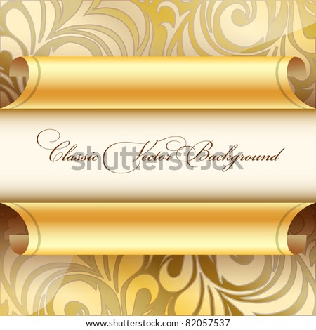 Golden curled wallpaper - stock vector