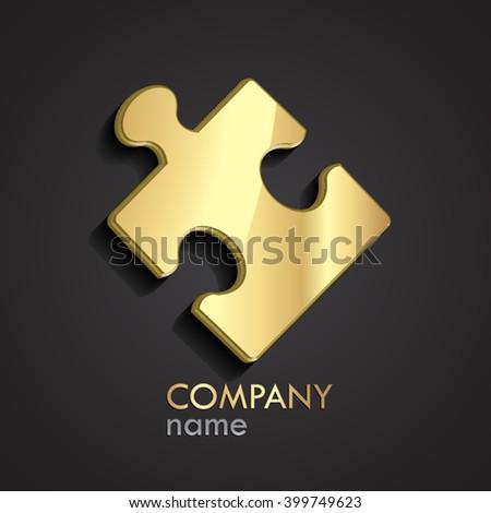 golden 3d puzzle logo / vector illustration - stock vector