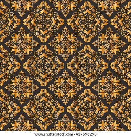 Golden damask background. Dark brown pattern. Vector illustrations. - stock vector