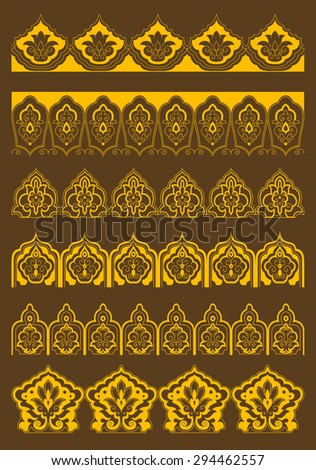 Golden decorative arabesque borders with persian floral ornaments on brown background for embellishment or textile design - stock vector
