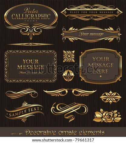 Golden decorative vector design elements & page decor - stock vector
