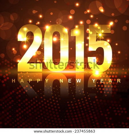 golden 2015 design with transparent circles placed on shiny brown background - stock vector
