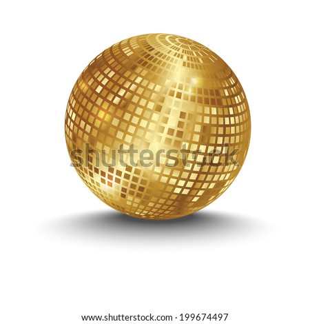 golden disco ball - stock vector