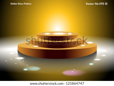 Golden Disco Podium - stock vector