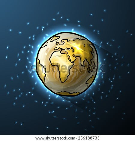 Golden doodle globe in space, vector illustration for your design, eps10 4 layers - stock vector