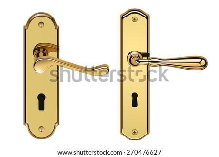 Golden door handles eps10 - stock vector
