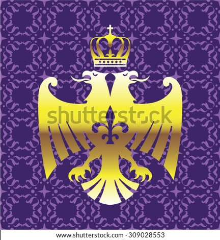 Golden Double headed Eagle Royal Logo with a Crown Purple Background Vector Art - stock vector