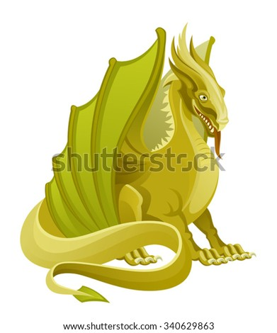 Golden dragon - stock vector