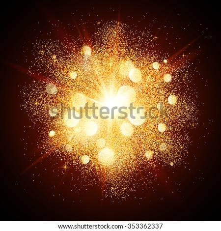 Golden dust vector firework explosion - stock vector